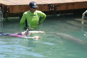 Hippo swims under the water while Krystal floats in her session