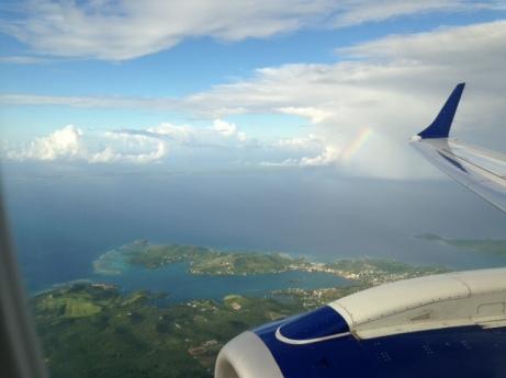 A rainbow in flight from St. John to St. Thomas